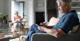 Man and woman do activities to help with healthy brain aging.